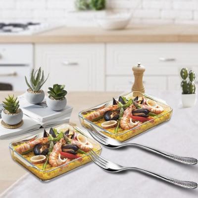 ADERIA 日本進口圓角型微波玻璃烤盤附不鏽鋼餐叉 20CM 2入