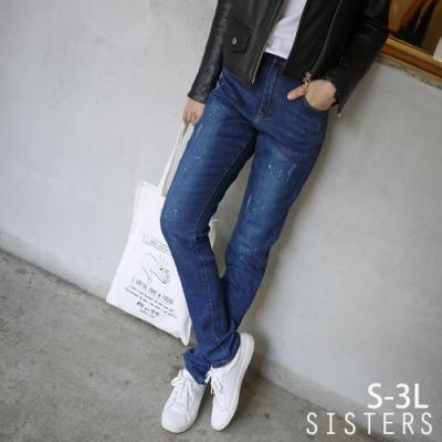 潑漆刷色破損感小直筒牛仔褲(S-3L) SISTERS
