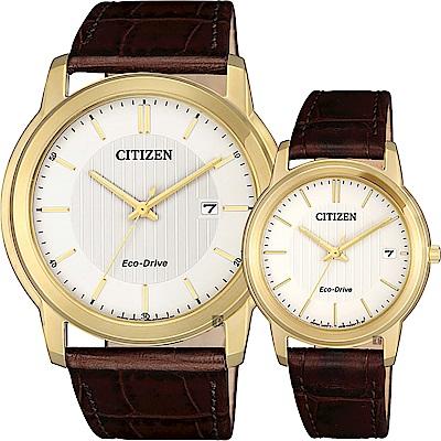 CITIZEN 星辰 Eco-Drive 光動能城市對錶-金框x咖啡/42+33mm @ Y!購物