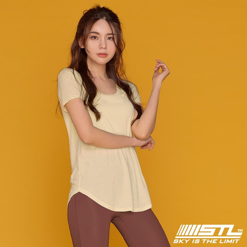 韓國 STL Yoga MODAL 3分袖 莫代爾 運動機能 輕透快乾 微合身低圓領短袖上衣 檸檬黃MellowYellow