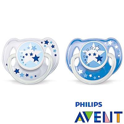 PHILIPS  AVENT 矽膠安撫奶嘴6~18M+夜光系列(雙入)-藍