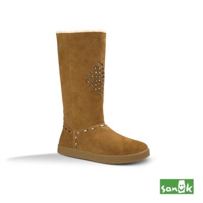 SANUK 麂皮內鋪羊毛長筒靴-女款(褐色)