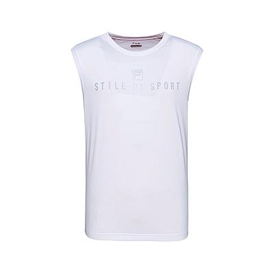 FILA 男款抗UV吸濕排汗背心-白色 1TKT-1300-WT