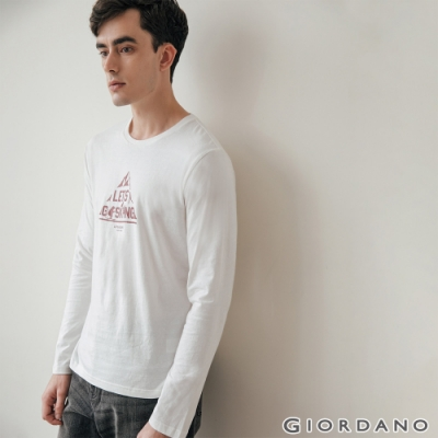 GIORDANO 男裝GO SKIING印花長袖T恤-31 皎白