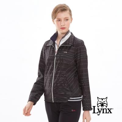 【Lynx Golf】女款防潑水3M反光紗材質條紋長袖外套-黑色