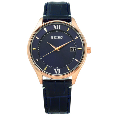 SEIKO 全台限量太陽能藍寶石水晶日期牛皮手錶-深藍x玫瑰金框/39mm