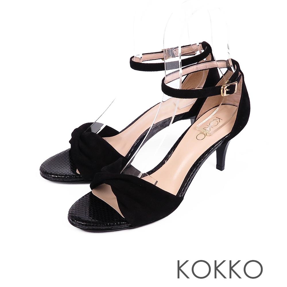 KOKKO女神降臨扭結繫帶真皮高跟鞋濃蜜黑