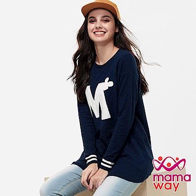 mamaway媽媽餵 迪士尼字母米奇針織孕哺上衣