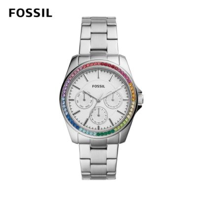 FOSSIL Janice 三眼霓虹晶鑽女錶 銀色不鏽鋼錶帶 38MM BQ3613