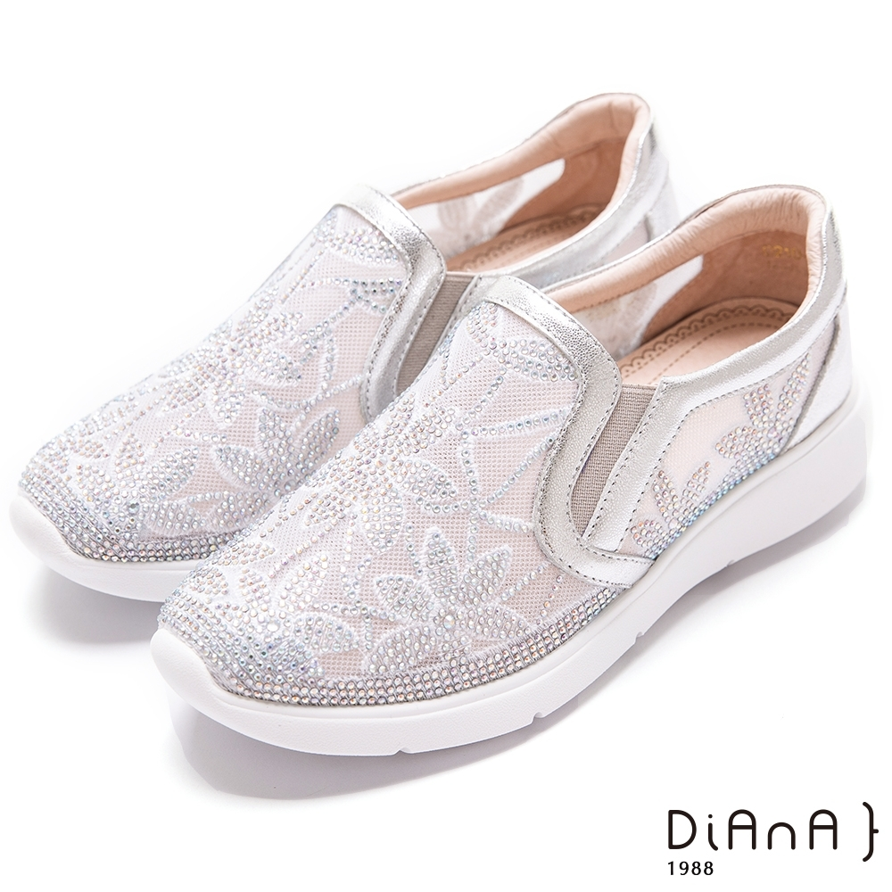 DIANA 透膚紡紗閃閃水鑽4CM輕量厚底休閒鞋-漫步雲端超厚切焦糖美人-銀