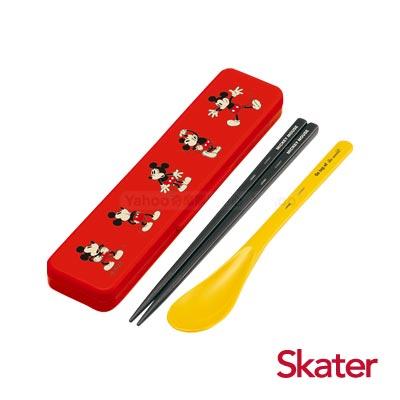 Skater湯匙筷子組(附盒) 米奇CHEERFUL