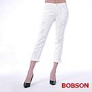 BOBSON 女款低腰男朋友白色破褲