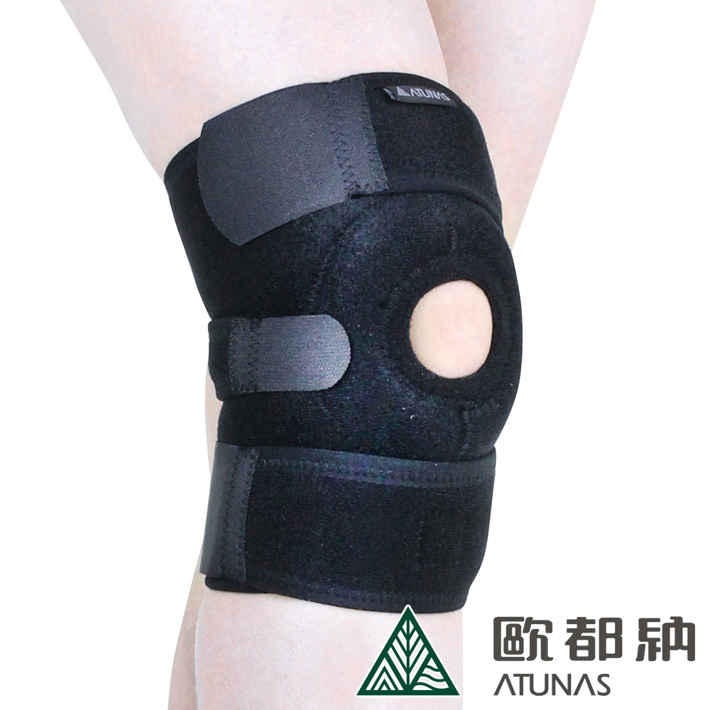 【ATUNAS 歐都納】登山運動休閒防護護具/標準型調整護膝A1-SA1603黑