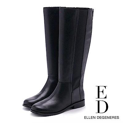 ED Ellen DeGeneres 小牛皮素面伸縮帶長靴-黑色