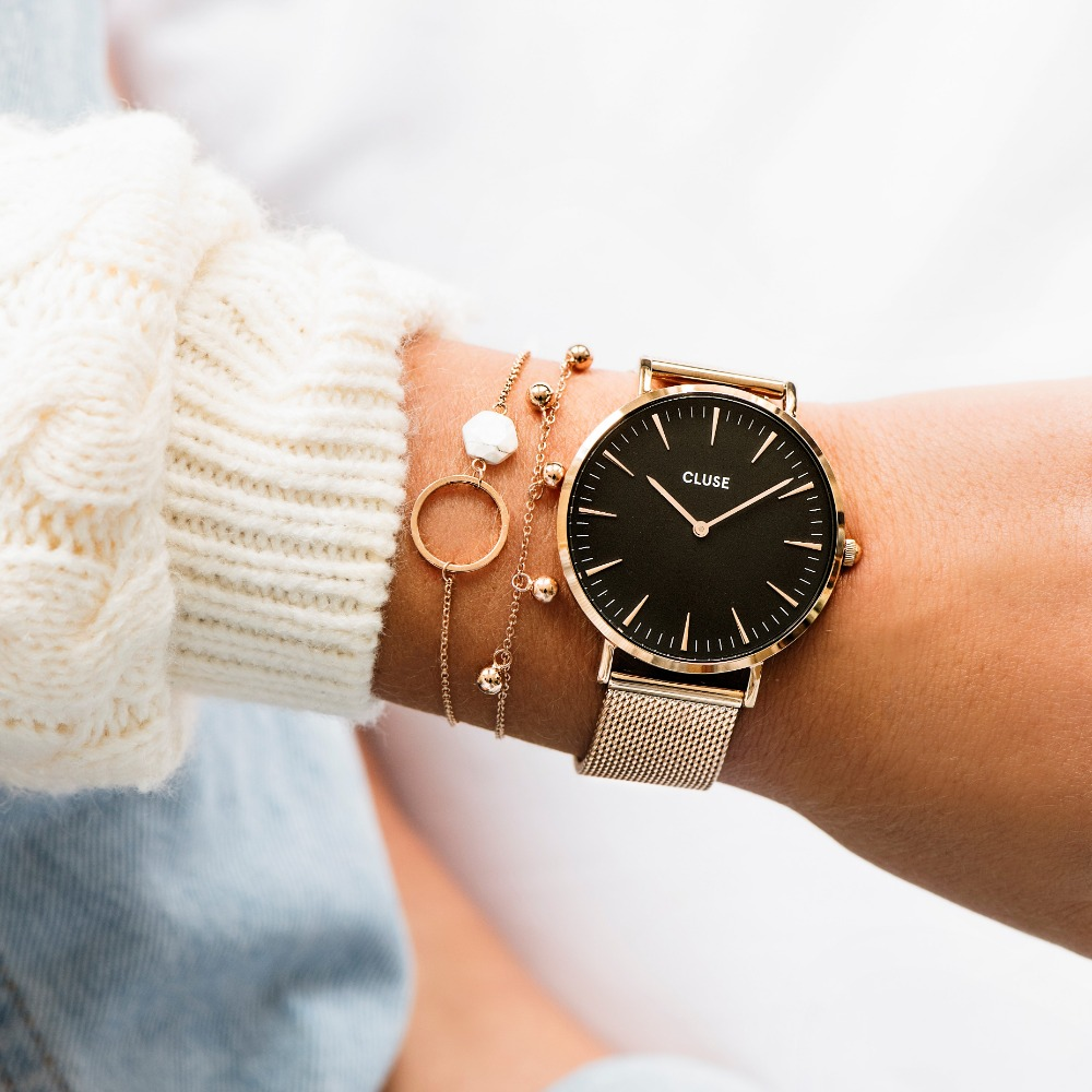 CLUSE La Bohème 波希米亞系列腕錶(玫瑰金框/黑錶面)38mm