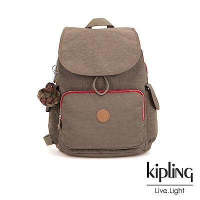 Kipling 卡其撞色拉鍊掀蓋後背包-CITY PACK-ESSENTIAL系列