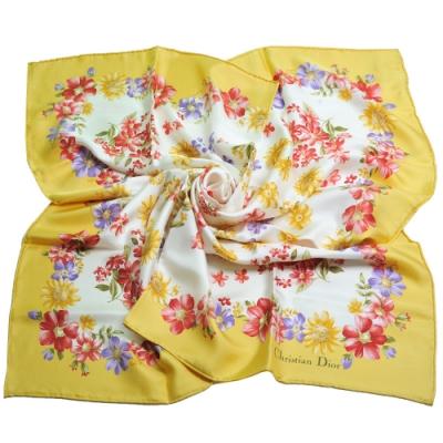 DIOR 品牌LOGO繽紛花朵風格圖騰優雅100%絲質帕領巾(黃邊)