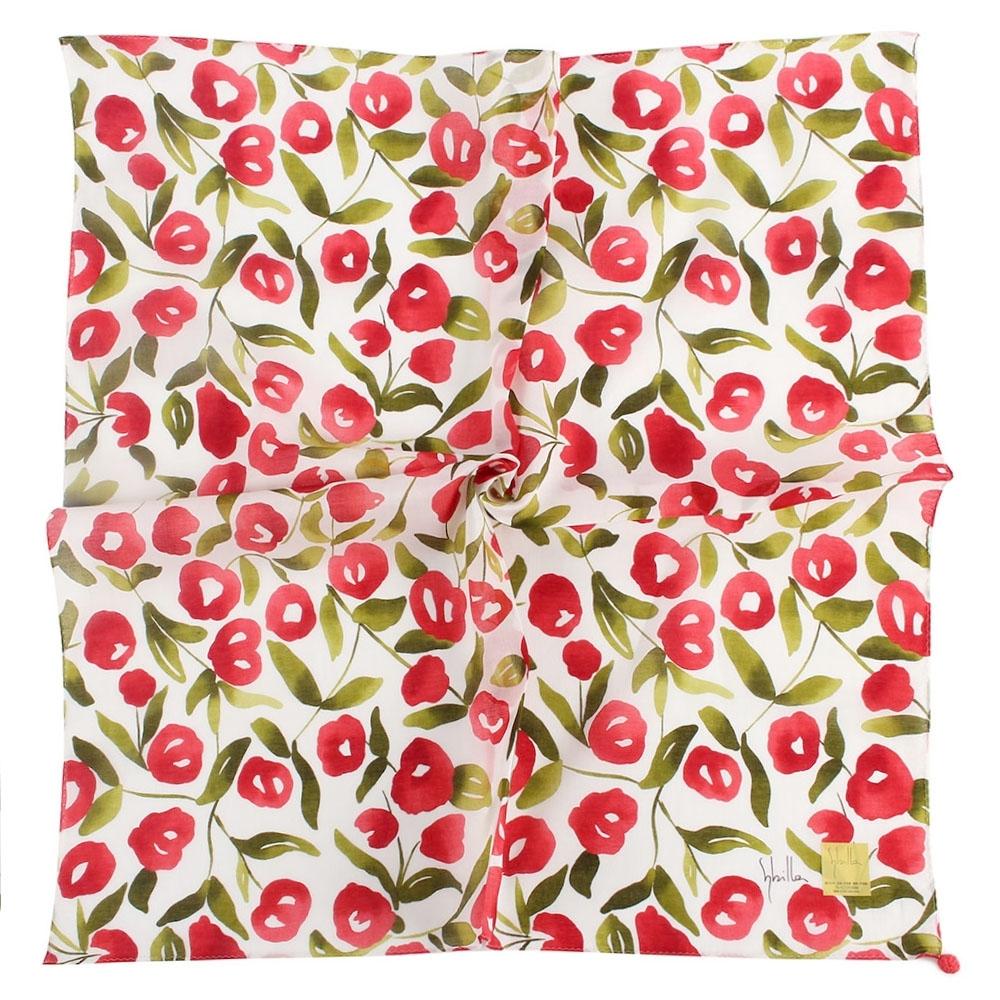 Sybilla 花團錦簇彩繪純綿帕巾領巾-紅色