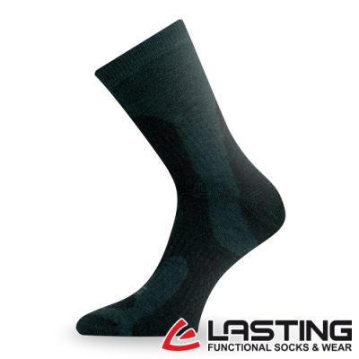 【LASTING捷克】男款美麗諾羊毛抗菌除臭吸濕排汗中筒健行襪/厚襪LT-TRP墨綠
