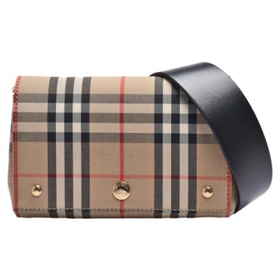 BURBERRY Vintage Check格紋帆布釦式肩/斜背包(小-卡其)