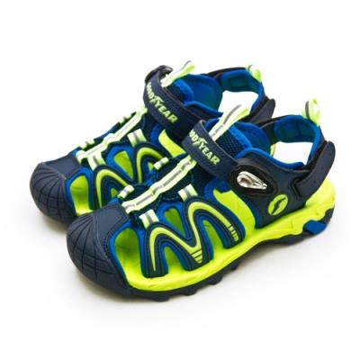 GOODYEAR固特異多功能運動磁扣護趾涼鞋藍螢綠98966