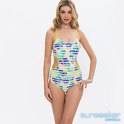澳洲Sunseeker泳裝印花條紋挖腰連身式泳裝