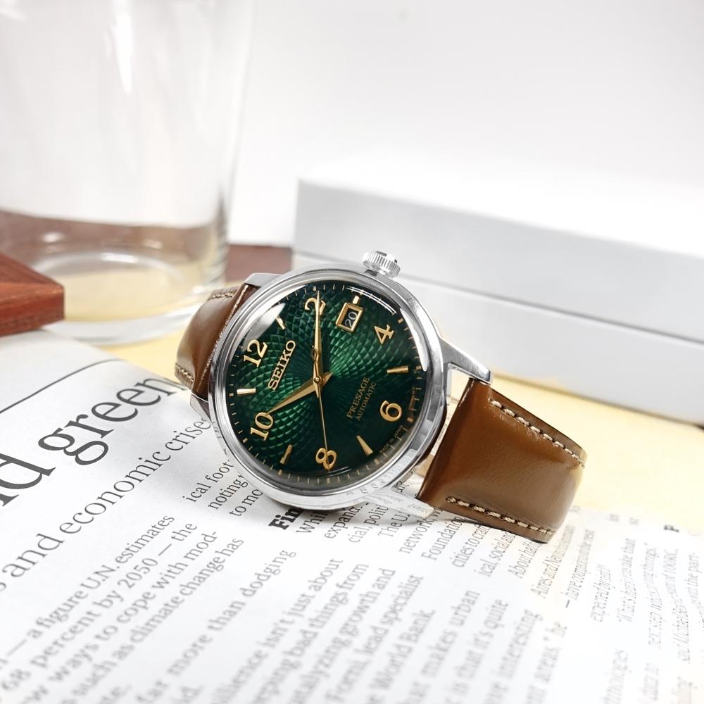 SEIKO 精工 PRESAGE 調酒師系列 機械錶 自動上鍊 牛皮手錶-綠x銀x棕/38mm