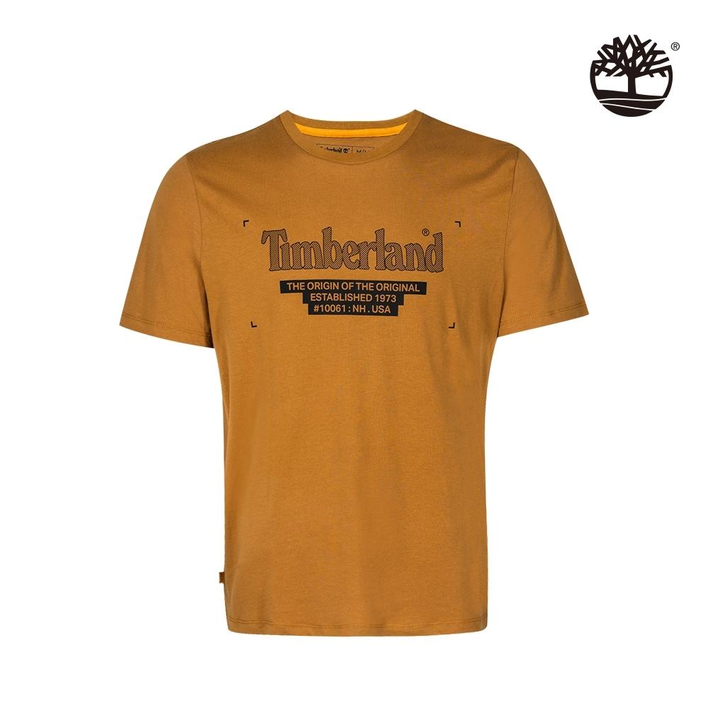 Timberland 男款小麥色胸前斜紋LOGO印花短袖T恤|A2D6F