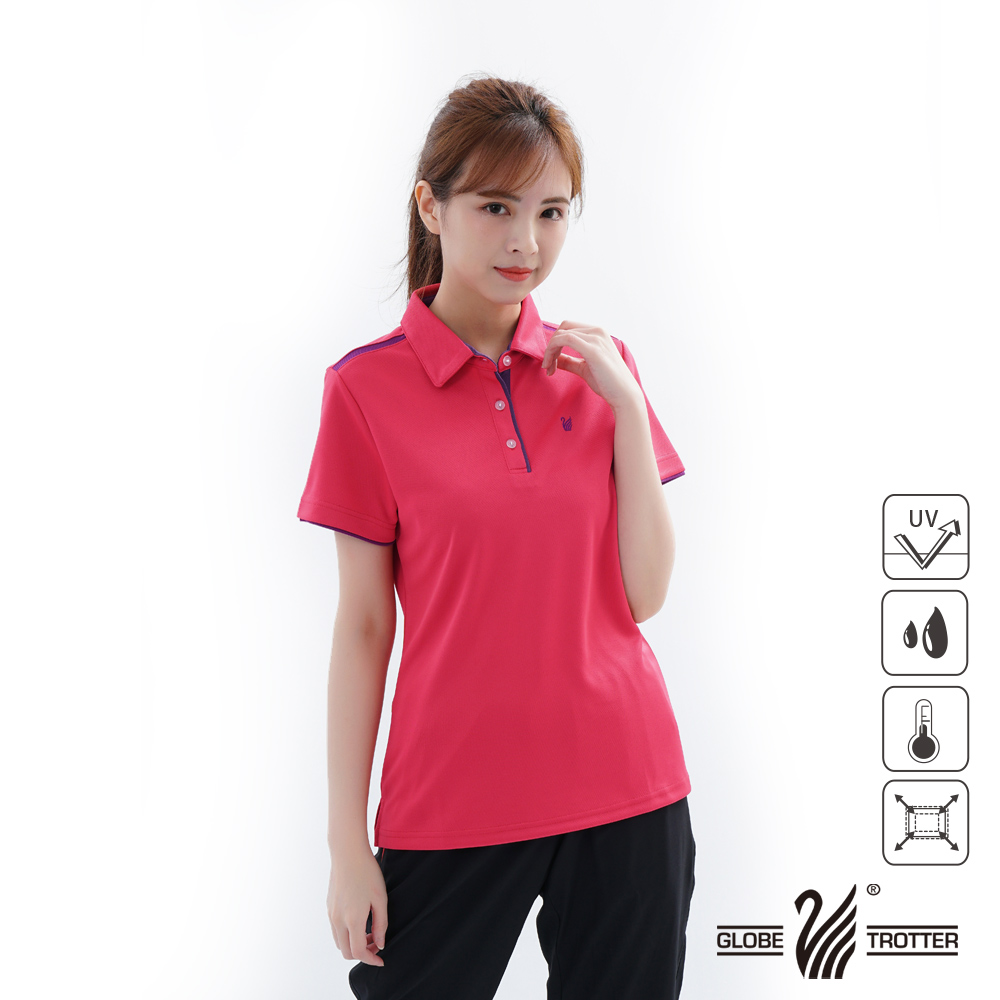 【遊遍天下】女款吸濕排汗抗UV機能POLO衫GS1033玫紅紫