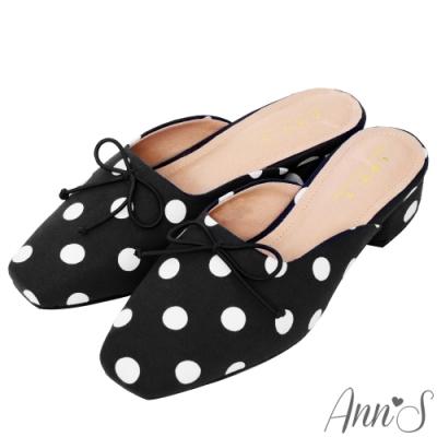 Ann'S慵懶女人味-寬腳OK優雅蝴蝶結點點方頭穆勒鞋 -黑(版型偏小)