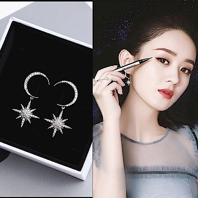 梨花HANA  韓國S925銀針日月女神之範微鑲耳環