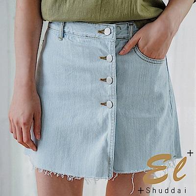 正韓 片裙扣接鬚邊牛仔褲裙-(共二色)El Shuddai