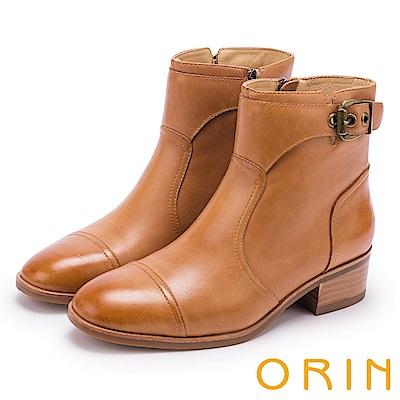ORIN 中性帥氣 造型剪裁牛皮扣環短靴-棕色