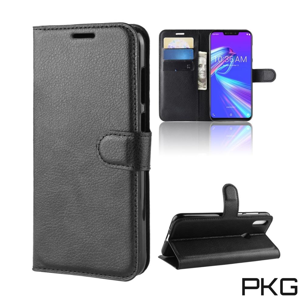 PKG ASUS Zenfone Max Pro M1側翻式皮套-精選皮套-經典款式-黑
