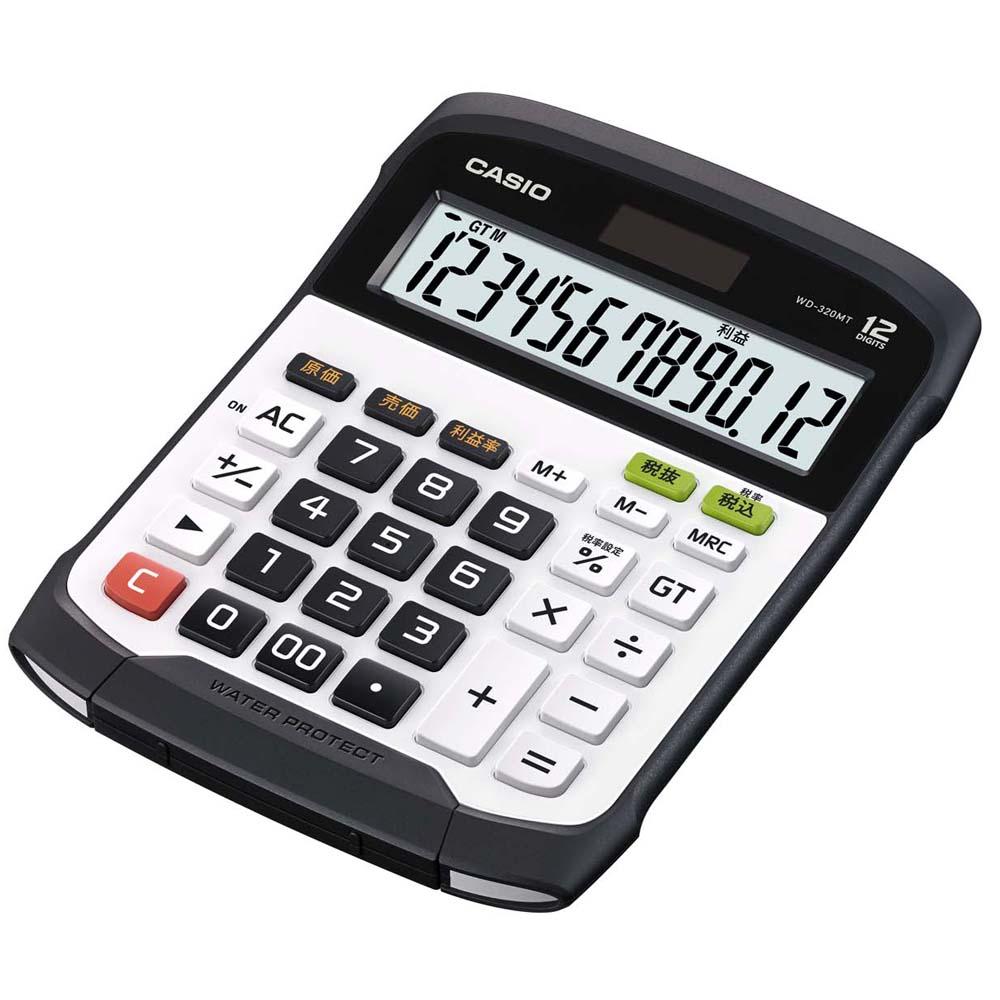 CASIO 12位元 獨特鍵盤分離式防水防塵實用桌上型計算機WD-320MT-白/黑