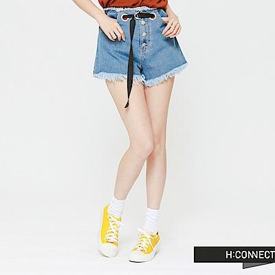 H:CONNECT 韓國品牌 女裝 - 腰間設計抽鬚牛仔短褲-藍