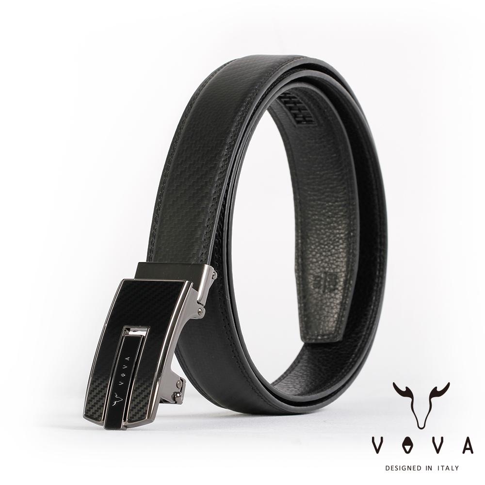VOVA - 商務紳士琴鍵鏡面造型自動扣皮帶 - 鎢鋼色