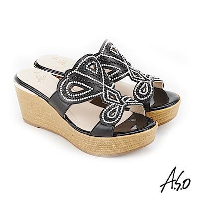 A.S.O 炫麗魅惑 黑鑽厚底奈米拖鞋 黑色