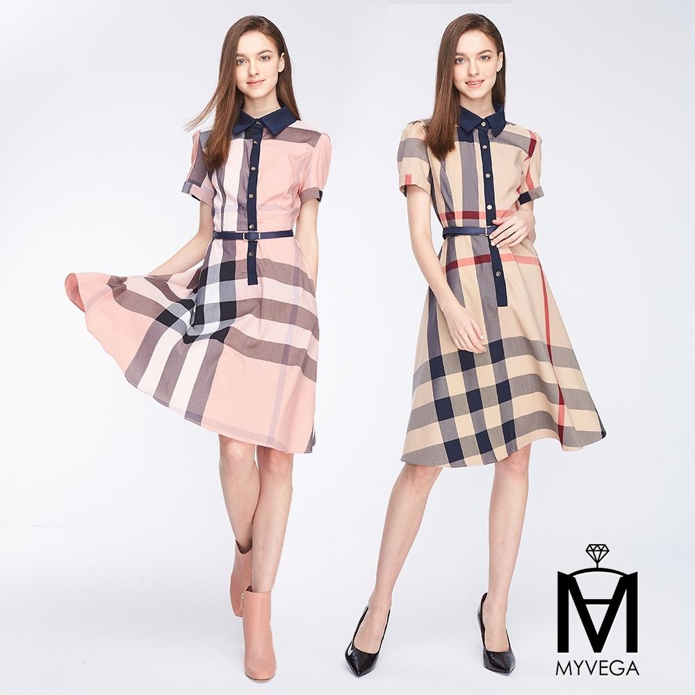 麥雪爾 MA大格紋造型長洋裝-共二色