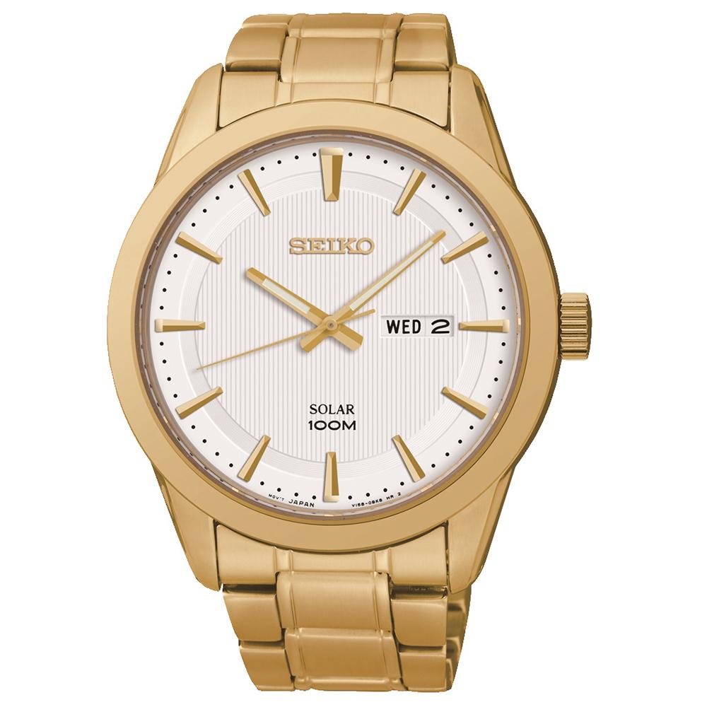 SEIKO 自信沉穩金色調太陽能石英腕錶(SNE366P1)-白/43mm