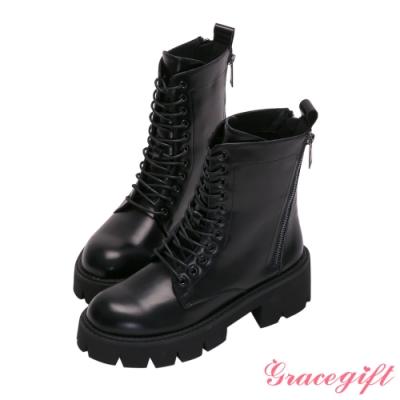 Grace gift-雙拉鍊厚底中跟中靴 黑