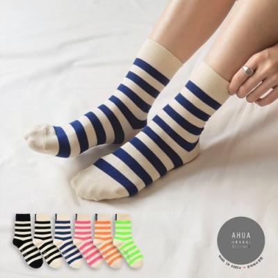 阿華有事嗎  韓國襪子 後側標籤條紋中筒襪  韓妞必備 正韓百搭純棉襪