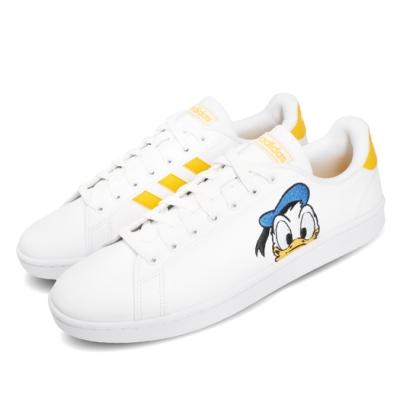 adidas 休閒鞋 Grand Court 卡通 唐老鴨 男鞋 愛迪達 迪士尼 聯名 皮革鞋面 穿搭 白 黃 FY0250