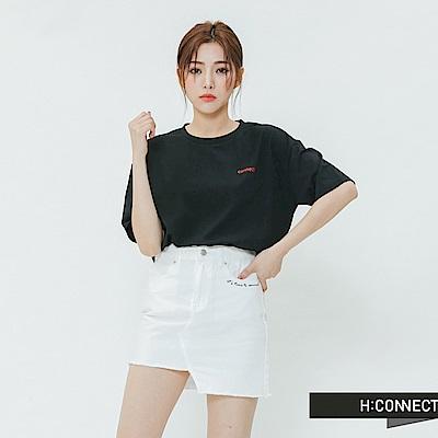 H:CONNECT 韓國品牌 女裝-黑白圖印字T-shirt-黑