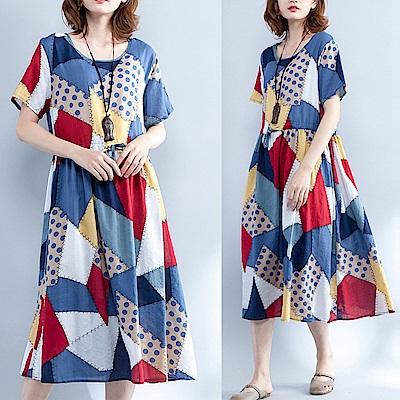 不規則撞色拼接寬鬆連身裙-F-Keer