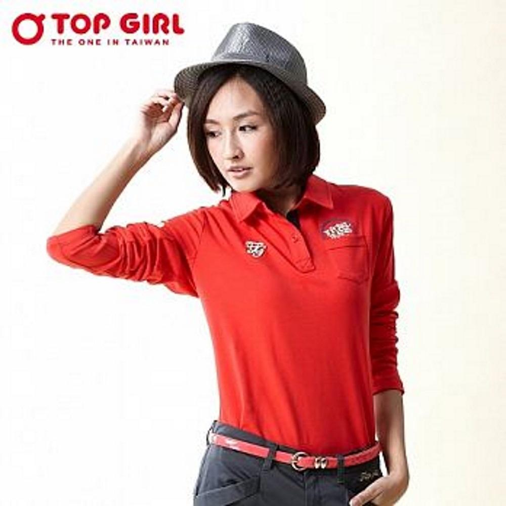 【TOP GIRL】素面POLO衫 - 火熱紅