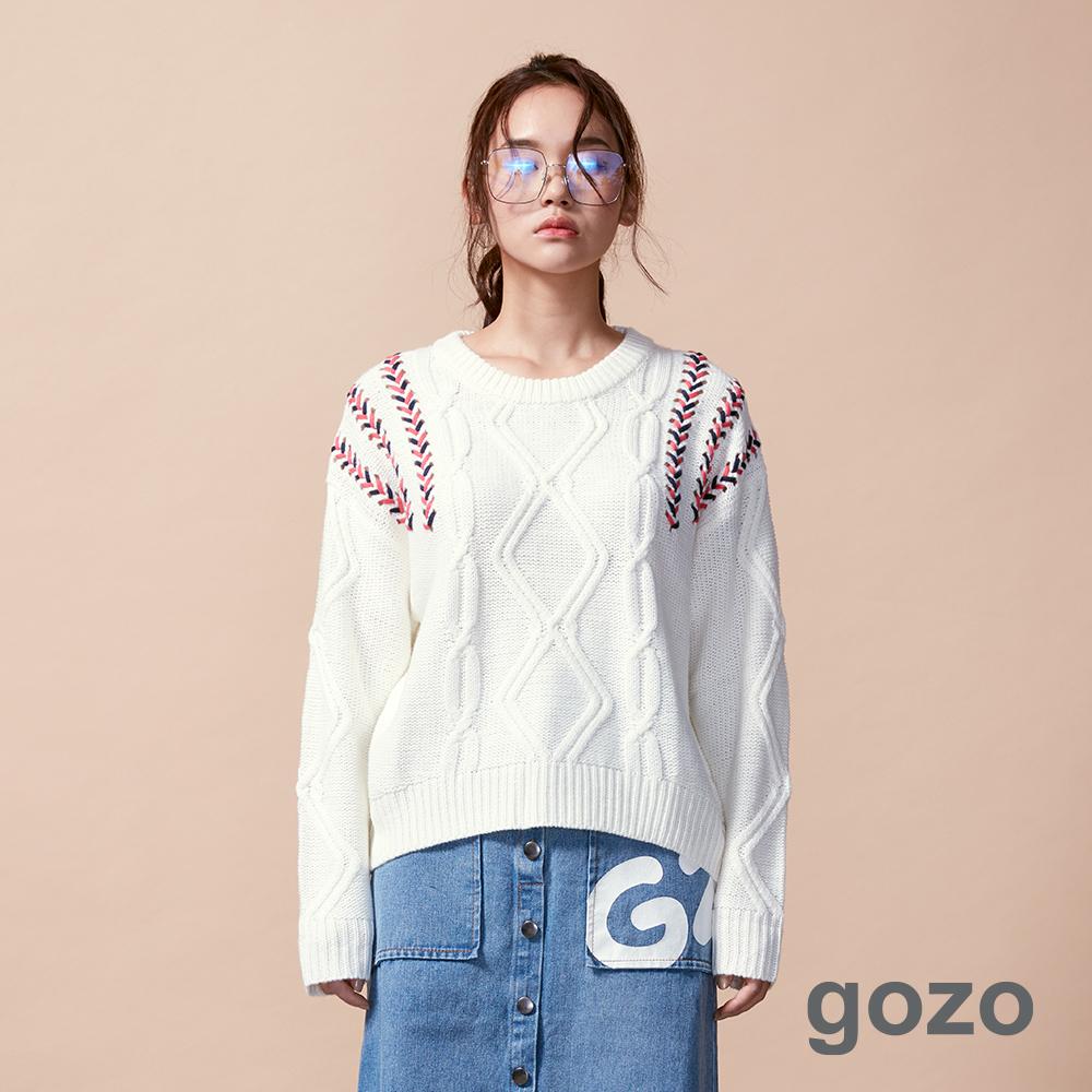gozo 棒球縫線圓領針織上衣(白色)