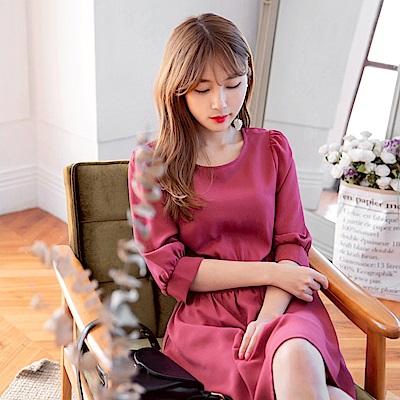 優雅感公主袖純色雪紡洋裝-OB大尺碼