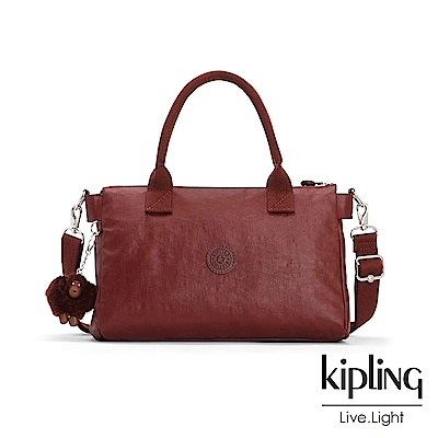 Kipling 雅緻紅褐素面手提側背公事包-IRISA