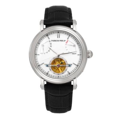 PARKER PHILIP派克菲利浦飛返指針鏤空擺輪限量機械錶(銀殻/白面/黑帶)